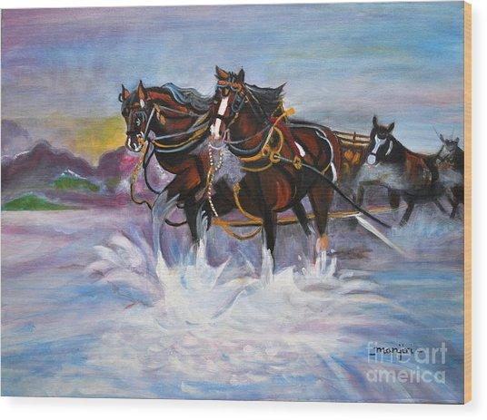 Running Horses- Beach Gallop Wood Print