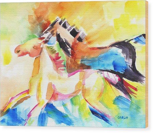 Running Horses Color Wood Print