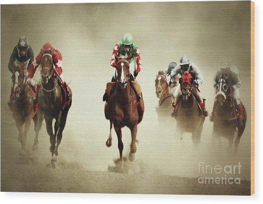 Running Horses In Dust Wood Print