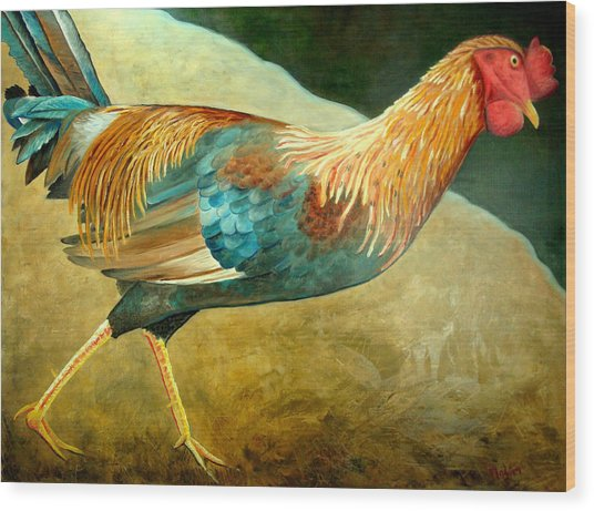Running Rooster Wood Print by Scott Plaster