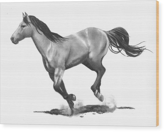 Running Stallion Wood Print by Joyce Geleynse