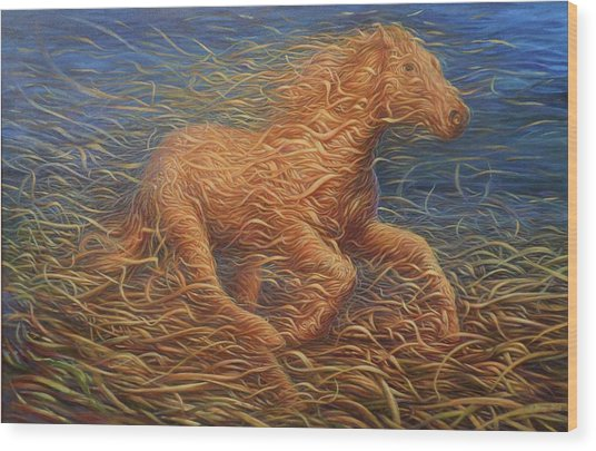 Running Swirly Horse Wood Print