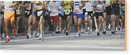 Running The Race Wood Print