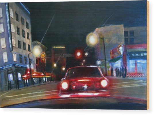 Running The Red Light Wood Print by Victoria Heryet