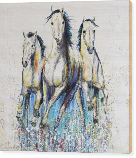 Running With The Herd Horse Painting Wood Print