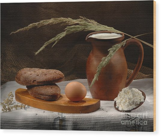 Rural Breakfast Wood Print by Irina No