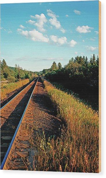 Rural Country Side Train Tracks Wood Print