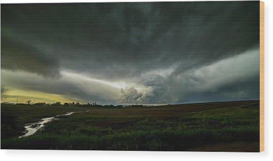 Rural Spring Storm Over Chester Nebraska Wood Print