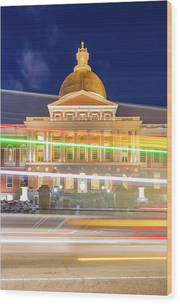 Rush Hour In Front Of The Massachusetts Statehouse Wood Print