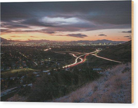 Rush Hour In Salt Lake City Wood Print