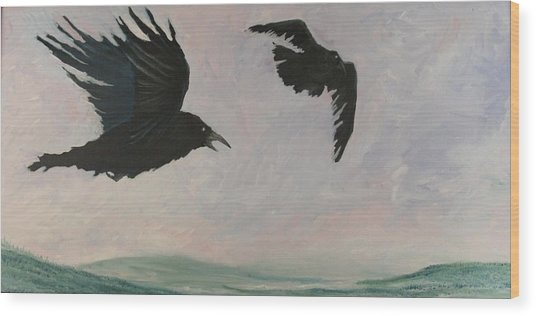 Rush Hour Ravens Wood Print by Amy Reisland-Speer