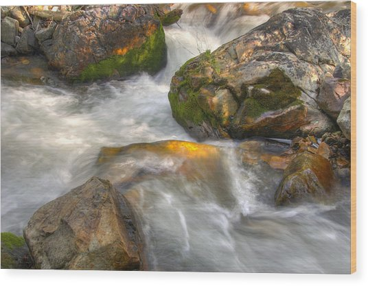 Rushing Water 1 Wood Print by Douglas Pulsipher