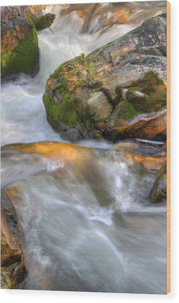 Rushing Water 2 Wood Print by Douglas Pulsipher