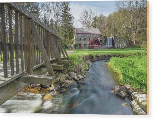 Rushing Water At The Grist Mill Wood Print