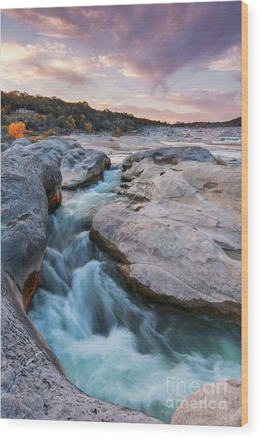 Rushing Waters At Pedernales Falls State Park - Texas Hill Country Wood Print