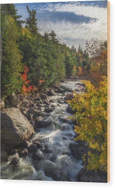 Rushing Waters Wood Print