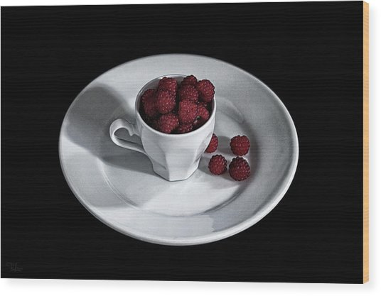 Ruspberries In The Cup - Livid Still-life Wood Print