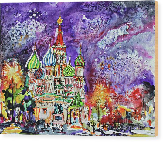 Russia Saint Basil Cathedral Watercolor And Ink Painting Wood Print