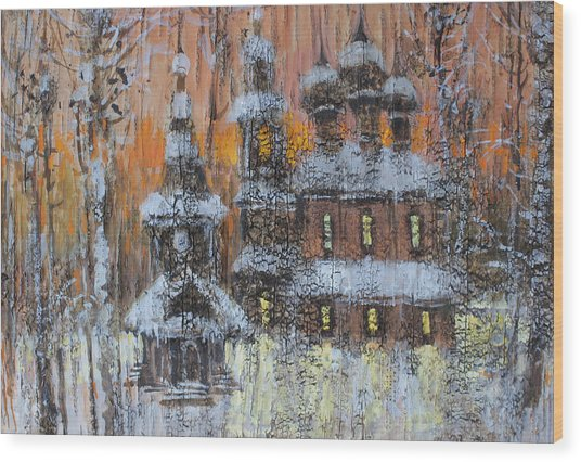 Russian Church Under Snow Wood Print