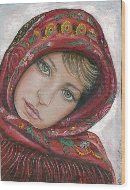 Russian Girl Wood Print