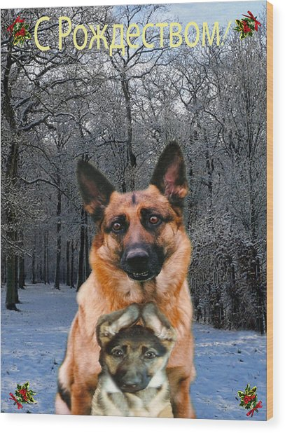 Russian Holiday German Shepherd And Puppy Wood Print
