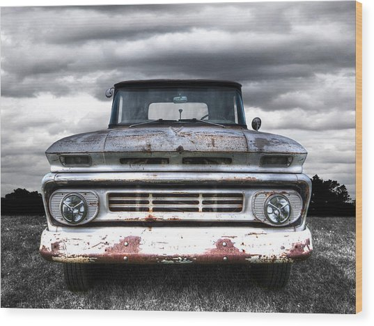 Rust And Proud - 62 Chevy Fleetside Wood Print