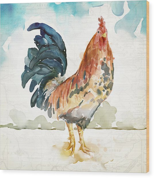 Rust Rooster Wood Print