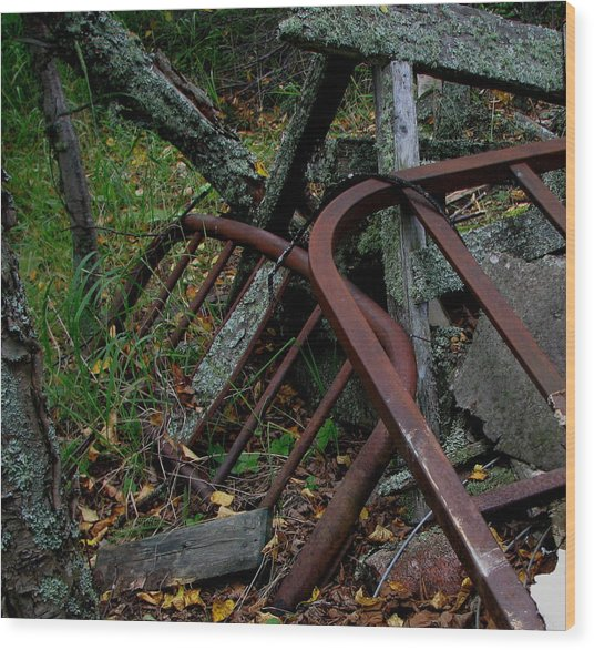 Rusted Bed Frame At Jackfish Ontario Wood Print by Laura Wergin Comeau