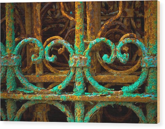 Rusted Gates Wood Print by Craig Perry-Ollila