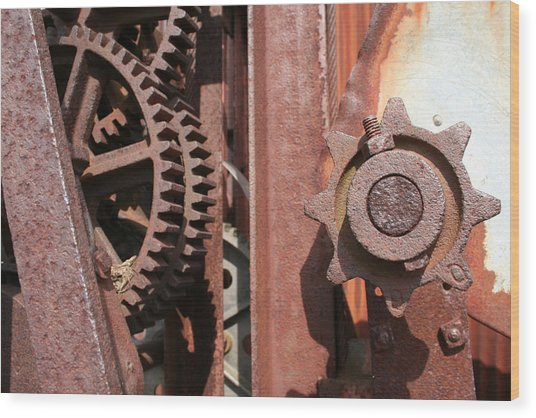 Wood Print featuring the photograph Rusted Gears by Dylan Punke