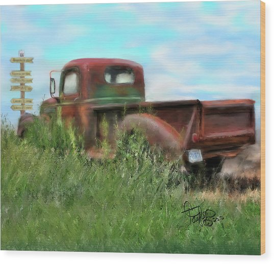 Rusted Not Retired Wood Print