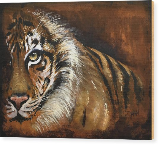 Rusted Tiger Wood Print by Holly Whiting