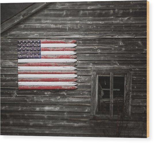 Rustic American Flag On A Weathered Grey Barn Wood Print
