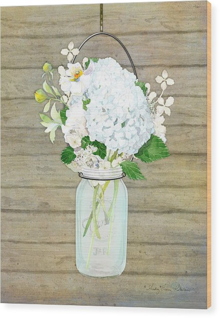 Rustic Country White Hydrangea N Matillija Poppy Mason Jar Bouquet On Wooden Fence Wood Print
