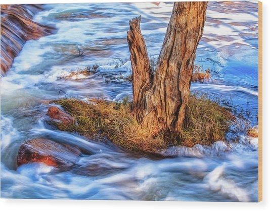 Rustic Island, Noble Falls Wood Print