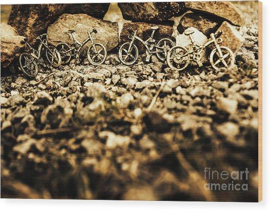 Rustic Mountain Bikes Wood Print