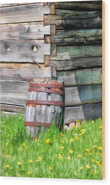 Rustic Rain Barrel At Old World Wisconsin Wood Print