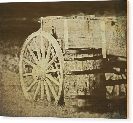 Rustic Wagon And Barrel Wood Print