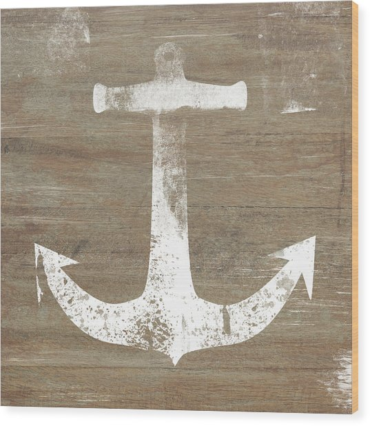 Rustic White Anchor- Art By Linda Woods Wood Print