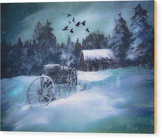 Rustic Winter Barn  Wood Print