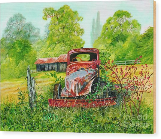 Rusting Wood Print by Val Stokes