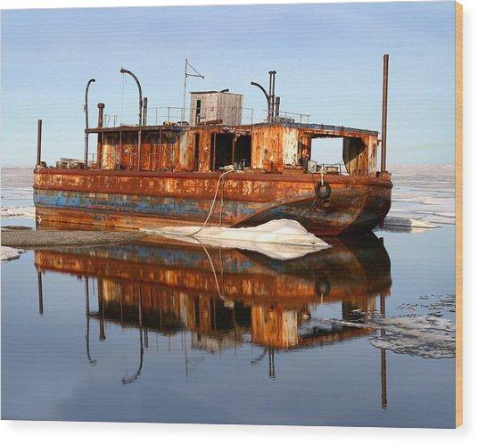 Rusty Barge Wood Print