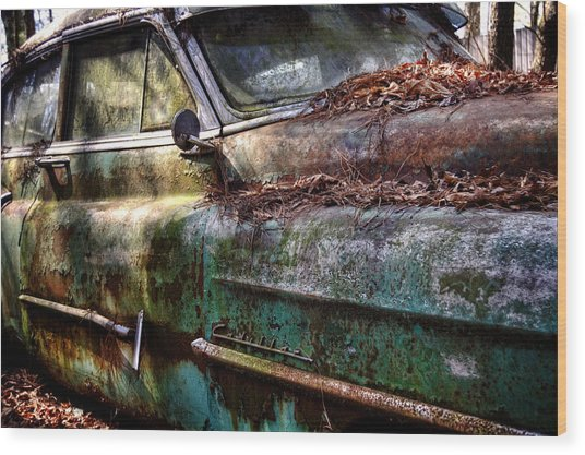 Rusty Cadillac Wood Print