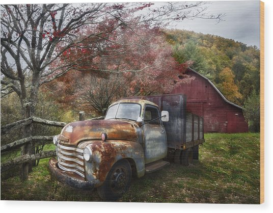Rusty Chevy Pickup Truck Wood Print