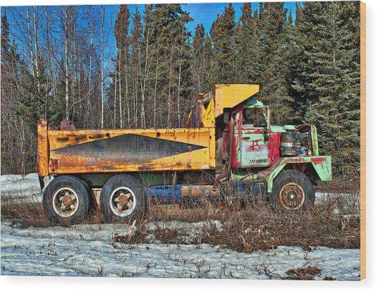 Rusty Dump Truck Wood Print
