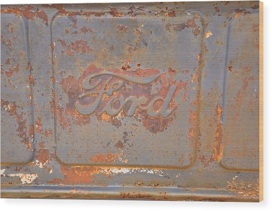 Rusty Ford Wood Print by Jan Amiss Photography