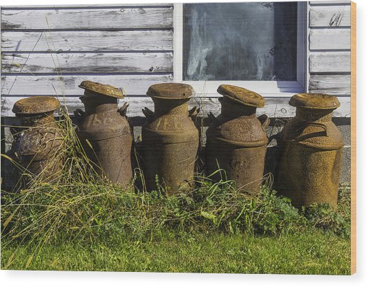 Rusty Milk Cans Wood Print