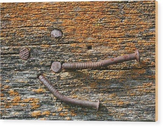 Rusty Nails On Weathered Wood Wood Print