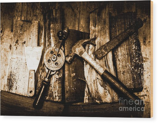 Rusty Old Hand Tools On Rustic Wooden Surface Wood Print