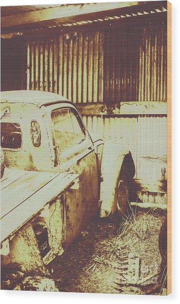 Rusty Pickup Garage Wood Print